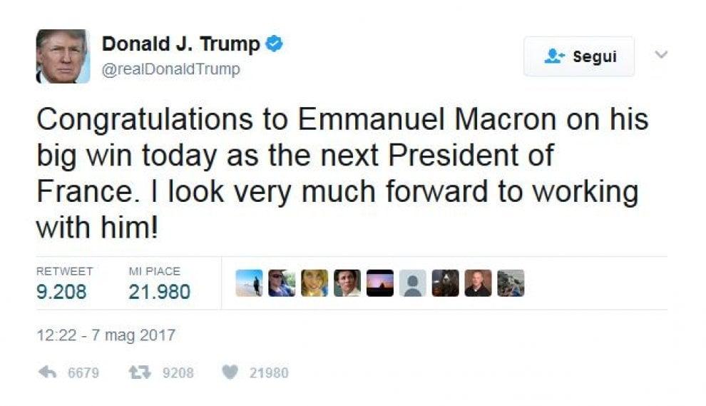 Elezioni Francia, Macron presidente: i leader mondiali si congratulano su Twitter