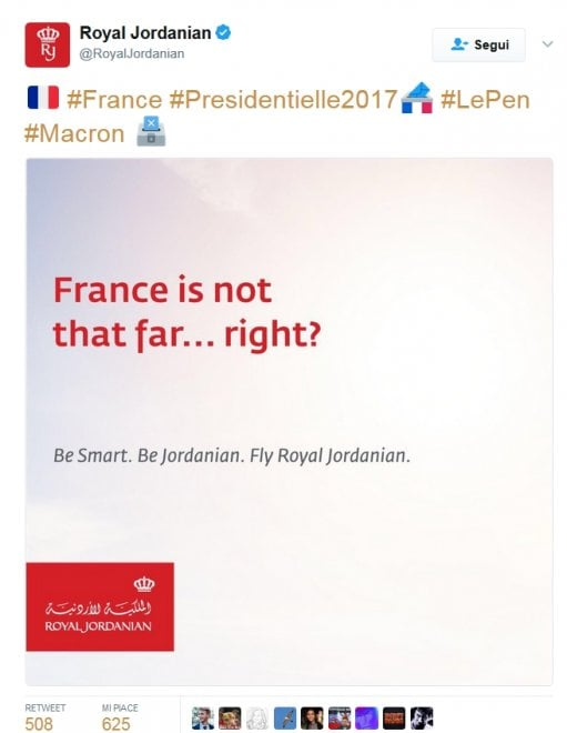 Elezioni Francia, compagnia aerea giordana sbeffeggia Le Pen: tweet ironici celebrano Macron