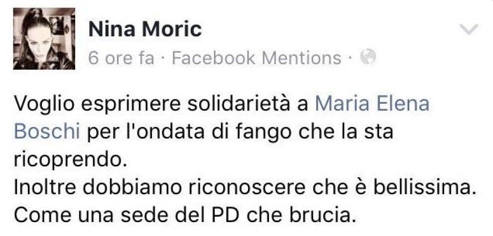 """Nina Moric su Facebook: """"Boschi bella come una sede del Pd che brucia"""""""