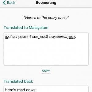 La traduzione non ti convince?  Boomerang la controlla riportandola alla lingua di partenza