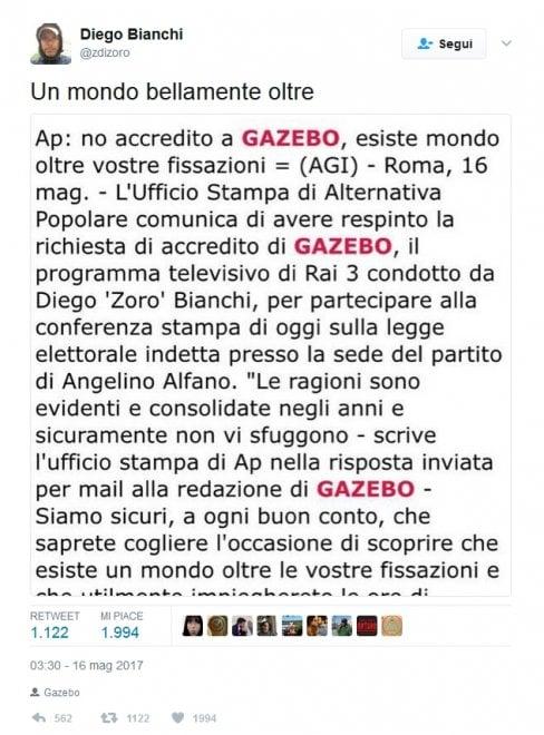 Rai, Ap nega accredito a Gazebo: le reazioni su Twitter