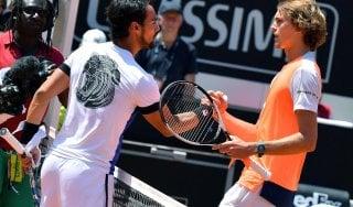Tennis, Internazionali: stavolta Fognini delude, Zverev lo domina. Quarto Djokovic-del Potro