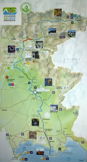 Ciclovia Alpe Adria: la mappa del tratto italiano della pista