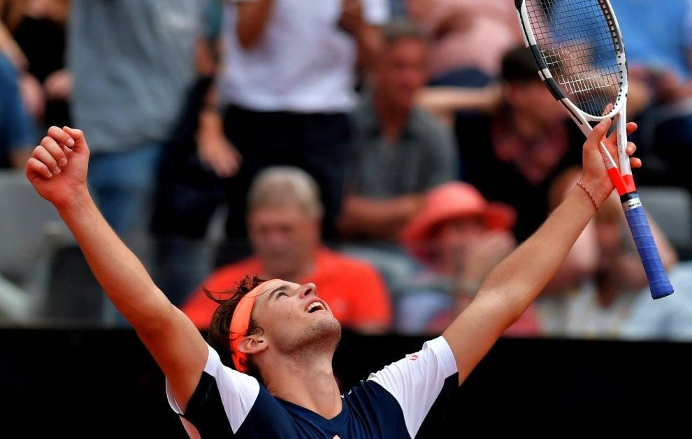 Tennis, Internazionali: la gioia di Thiem dopo il successo su Nadal