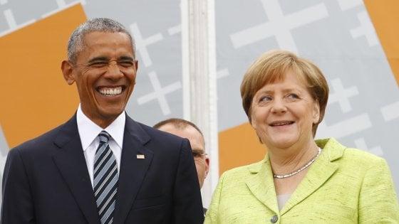 """Germania, Merkel e Obama insieme per un giorno: """"Il mondo è a un bivio"""""""