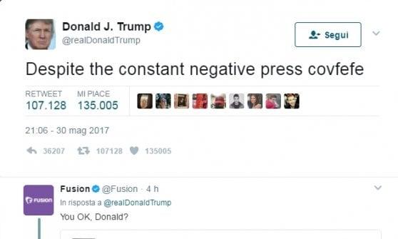 Covfefe? Il mondo si interroga sull'ultimo assurdo tweet di Trump