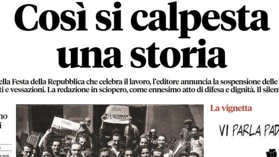"""L'Unità, interrotte le pubblicazioni. Ultimo numero in Pdf: """"Così si calpesta una storia. Nel silenzio del Pd"""""""
