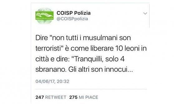 Islam e terrorismo, tweet razzista del Coisp contro la comunità musulmana