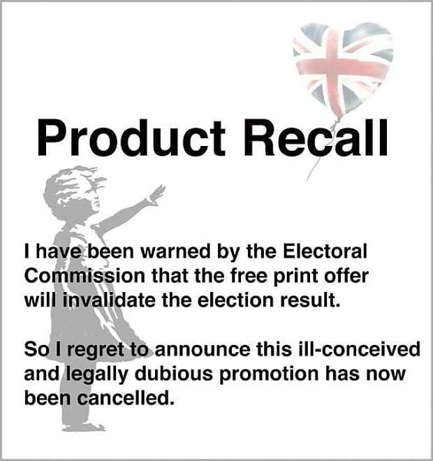 """""""Stampe gratis a chi non ha votato Tory"""": polizia apre indagine e Banksy ritira l'offerta"""