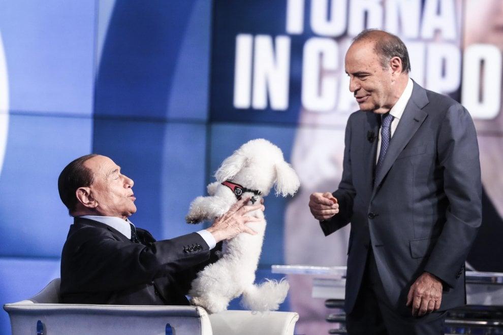 Berlusconi a Porta a Porta con un barboncino. Ma il cane prova a fuggire
