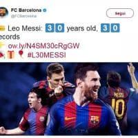 Messi, 30 anni da extraterrestre del calcio: gli auguri sui social network al campione del Barcellona