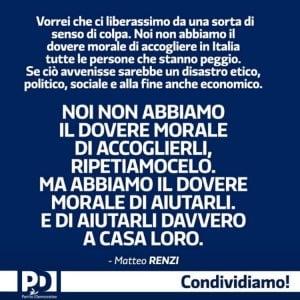 """""""Aiutiamo i migranti a casa loro"""". Polemica per la frase di Renzi che sembra uno slogan della Lega"""