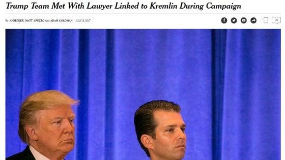 Il NyTimes rivela: il figlio di Trump incontrò avvocato legato al Cremlino