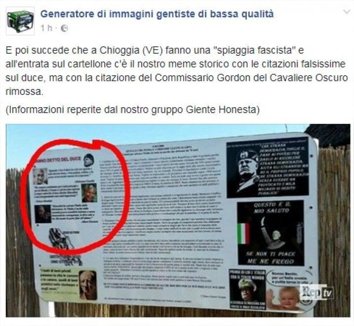 Chioggia,  sul cartello dello stabilimento fascista un meme che prende in giro il regime
