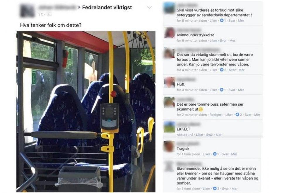 """Norvegia, gruppo nazionalista su Fb: """"Invasione di donne col burqa"""", ma sono i sedili vuoti del bus"""