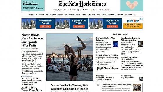"""L'allarme del New York Times: """"Venezia come la Disneyland del mare"""""""