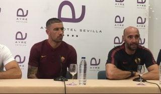 """Roma, Kolarov si presenta: """"Se segno nel derby esulto"""". Monchi: """"Nessun'altra offerta per Mahrez"""""""