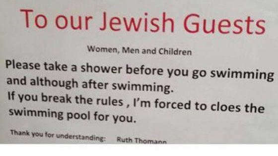 """""""Gli ebrei devono farsi la doccia prima di entrare in piscina"""": Israele chiede le scuse all'hotel svizzero"""