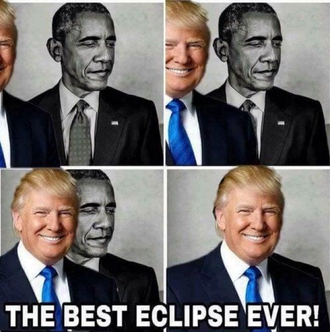 """""""La migliore eclissi di sempre"""", Trump oscura Obama: il presidente Usa condivide meme su Twitter"""