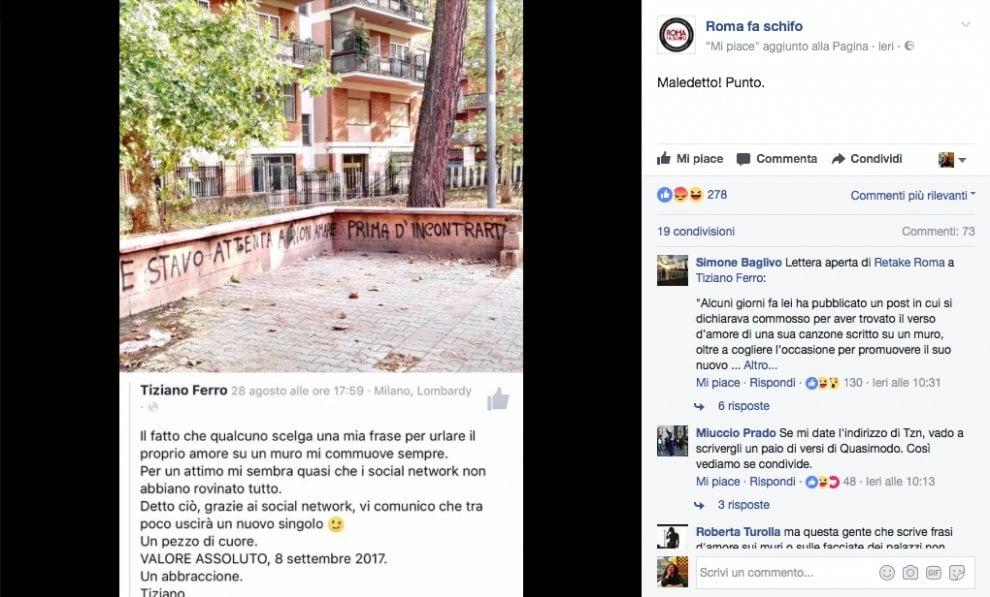 """Tiziano Ferro """"inciampa"""" sulle scritte sui muri: il post criticato (e poi rimosso) su Facebook"""