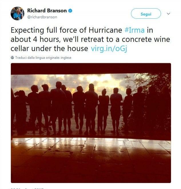 Irma diretta ai Caraibi: Richard Branson barricato sulla sua isola