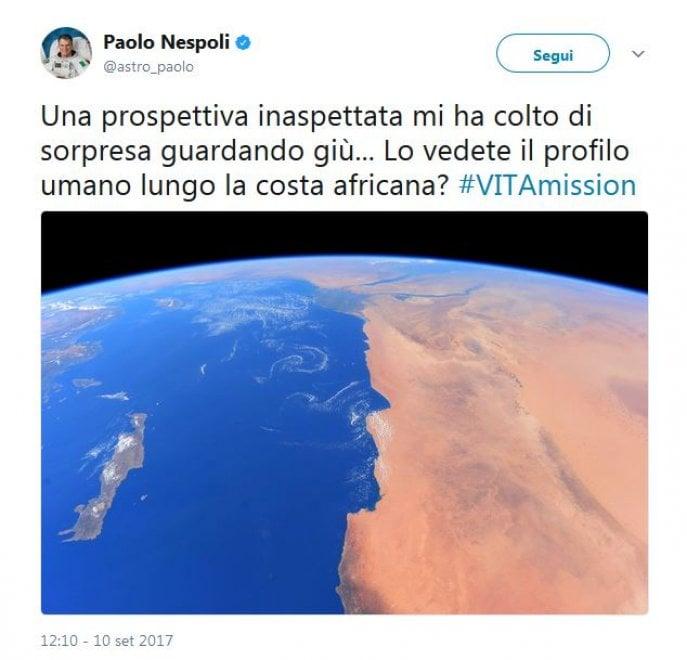 """La foto di Nespoli dallo spazio: """"Un profilo umano lungo la costa africana"""""""