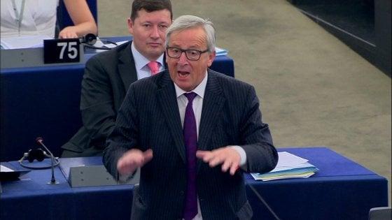 """Stato dell'Unione, Juncker: """"L'Ue ha vento in poppa, ripresa economica aiuta il rilancio politico"""""""