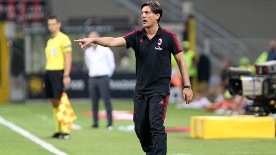 """Milan, Montella: """"Lazio alle spalle, ora serve una reazione"""""""