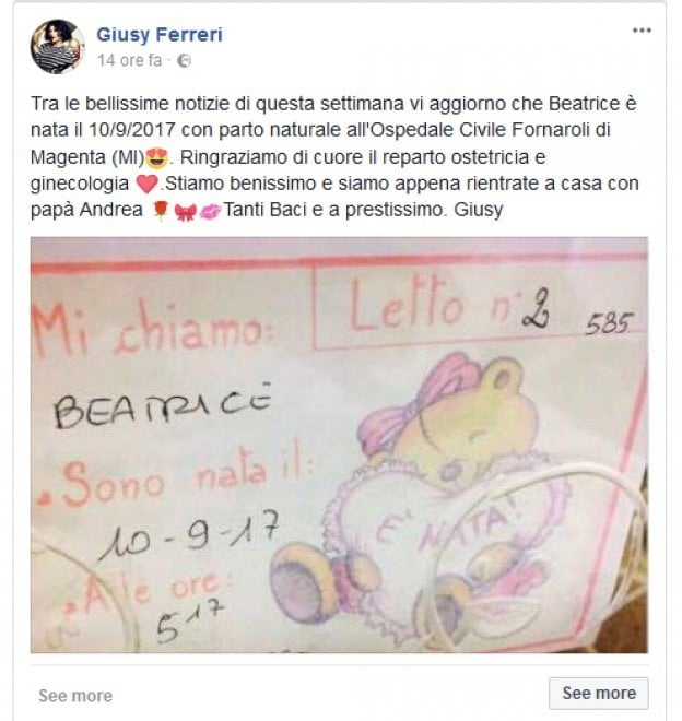 Giusy Ferreri è diventata mamma, è arrivata Beatrice