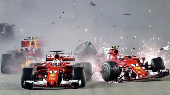 F1, Singapore: disastro Ferrari. Vettel e Kimi subito fuori, Hamilton vince e allunga