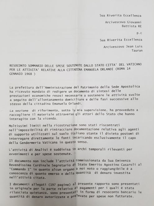 Ecco il documento-dossier sul caso Orlandi