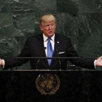 """La prima volta di Trump all'Onu: """"Se Rocket Man attacca l'unica scelta sarà distruggere la..."""