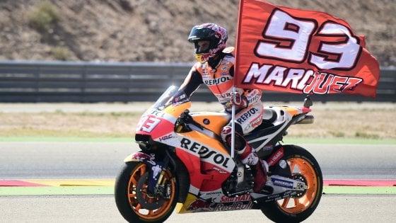 MotoGp, Aragon: Marquez vince e va in fuga, Dovizioso solo settimo. Rossi gigante, è quinto