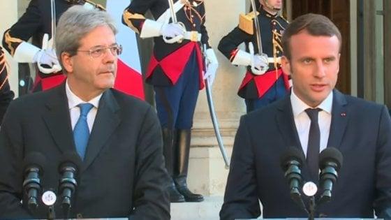 Il premier Gentiloni con Macron