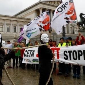Una protesta contro il Ceta a Vienna