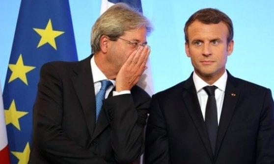 Il premier Gentiloni con il presidente Macron