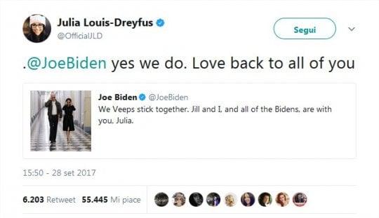 "Julia Louis-Dreyfus annuncia: ""Sono malata di cancro"". Tweet solidale di Joe Biden"