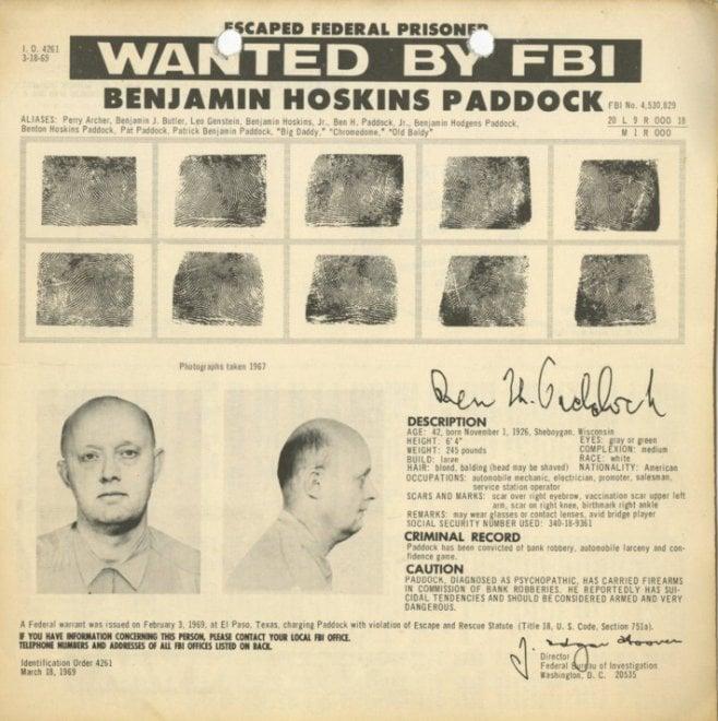 Strage Las Vegas, il padre del killer è stato uno dei criminali più ricercati dall'F.B.I.