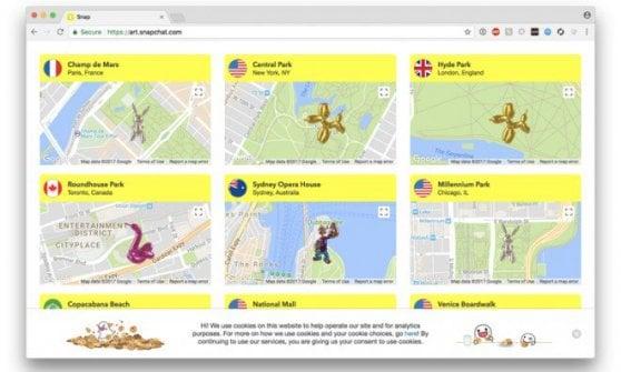 Snapchat si dà all'arte: Jeff Koons in realtà aumentata