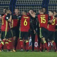 Qualificazioni Mondiali, il Belgio batte la Bosnia. Goleade Svezia ed Estonia