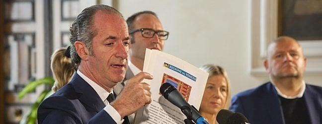 Veneto, Zaia chiede lo statuto speciale video.Governo: 'Provocazione'. Renzi: 'Ridurre tasse'