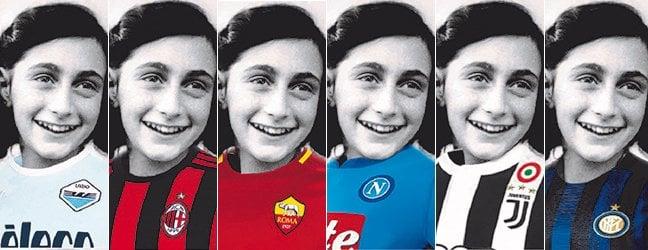 Il fotomontaggio con l'immagine di Anna Frank che indossa le maglie delle principali squadre italiane