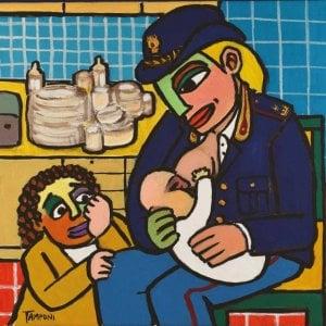La divisa diventa arte: il pittore Tamponi dipinge il calendario dei dirigenti di polizia