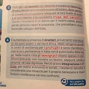 Bufera su un sussidiario delle elementari: i profughi sono clandestini e minacciano il benessere degli italiani