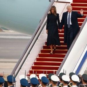 L'arrivo di Donald Trump e della moglie Melania a Pechino