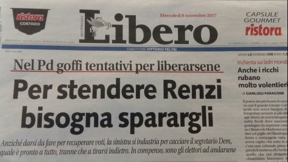 'Per stendere Renzi bisogna sparargli': nuova bufera su Libero