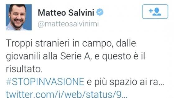 """Russia 2018, Salvini: """"L'Italia fuori per colpa degli stranieri"""". Renzi: """"Sciacallo"""""""