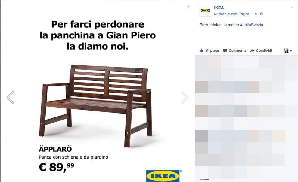 italia svezia campagna social di ikea la panchina a