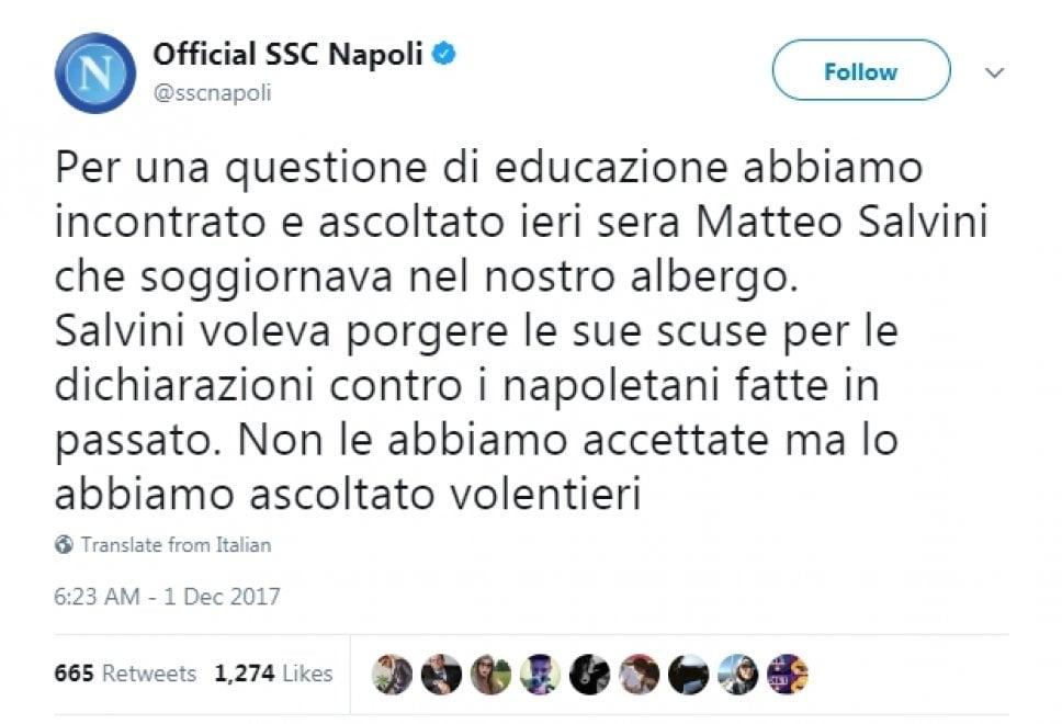 Salvini, selfie con giocatori ma il Napoli non dimentica accuse del passato