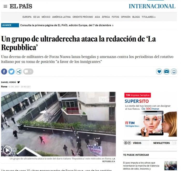 Blitz Forza Nuova sotto la sede di Repubblica: la notizia sui siti stranieri